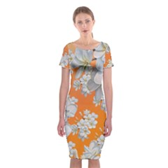 Flowers Background Backdrop Floral Classic Short Sleeve Midi Dress by Amaryn4rt