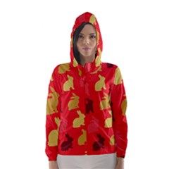 Hare Easter Pattern Animals Hooded Wind Breaker (women) by Amaryn4rt