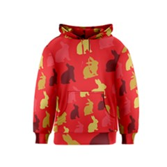 Hare Easter Pattern Animals Kids  Pullover Hoodie by Amaryn4rt