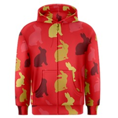 Hare Easter Pattern Animals Men s Zipper Hoodie by Amaryn4rt