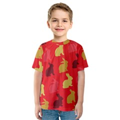 Hare Easter Pattern Animals Kids  Sport Mesh Tee by Amaryn4rt