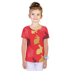 Hare Easter Pattern Animals Kids  One Piece Tee by Amaryn4rt