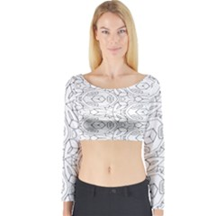 Pattern Silly Coloring Page Cool Long Sleeve Crop Top