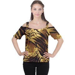 Pattern Tiger Stripes Print Animal Women s Cutout Shoulder Tee