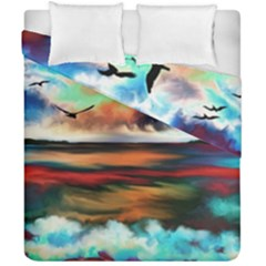 Ocean Waves Birds Colorful Sea Duvet Cover Double Side (california King Size)