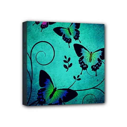 Texture Butterflies Background Mini Canvas 4  X 4  by Amaryn4rt
