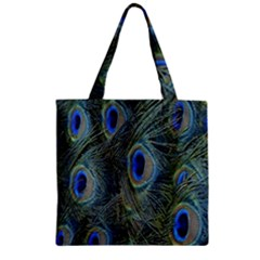 Peacock Feathers Blue Bird Nature Zipper Grocery Tote Bag by Amaryn4rt