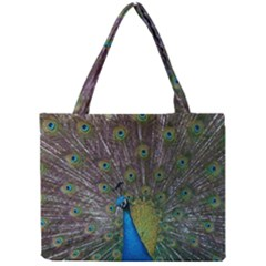 Peacock Feather Beat Rad Blue Mini Tote Bag by Amaryn4rt