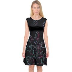 Easter Bunny Hare Rabbit Animal Capsleeve Midi Dress by Amaryn4rt