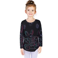 Easter Bunny Hare Rabbit Animal Kids  Long Sleeve Tee by Amaryn4rt