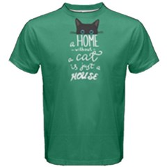 Green a home cat  Men s Cotton Tee by FunnySaying