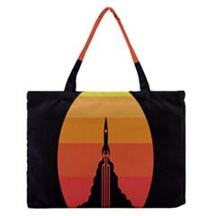 Plane Rocket Fly Yellow Orange Space Galaxy Medium Zipper Tote Bag by Alisyart