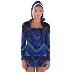 Blue Background Wallpaper Motif Design Women s Long Sleeve Hooded T Shirt