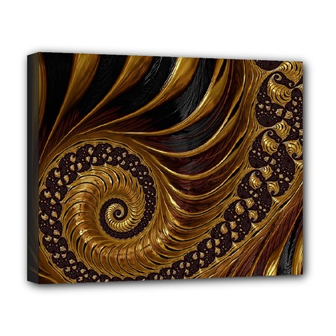 Fractal Spiral Endless Mathematics Deluxe Canvas 20  X 16   by Amaryn4rt