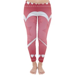 Postcard Banner Heart Holiday Love Classic Winter Leggings by Amaryn4rt