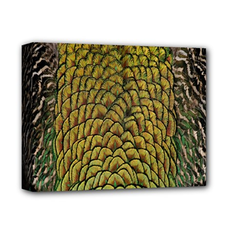 Peacock Bird Feather Gold Blue Brown Deluxe Canvas 14  X 11  by Alisyart