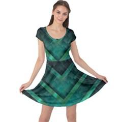 Green Background Wallpaper Motif Design Cap Sleeve Dresses
