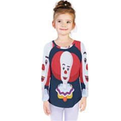 Clown Face Red Yellow Feat Mask Kids Kids  Long Sleeve Tee by Alisyart