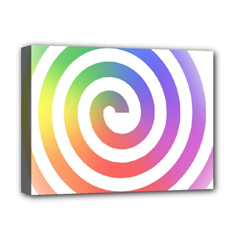 Circle Purple Blue Red Green Yellow Deluxe Canvas 16  X 12   by Alisyart