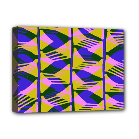 Crazy Zig Zags Blue Yellow Deluxe Canvas 16  X 12   by Alisyart