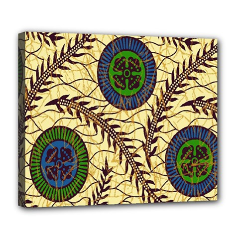 Fabrick Batik Brown Blue Green Leaf Flower Floral Deluxe Canvas 24  X 20   by Alisyart