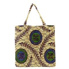 Fabrick Batik Brown Blue Green Leaf Flower Floral Grocery Tote Bag by Alisyart