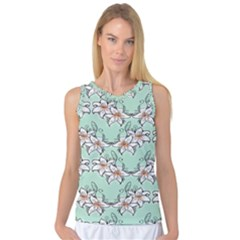 Flower Floral Lilly White Blue Women s Basketball Tank Top by Alisyart