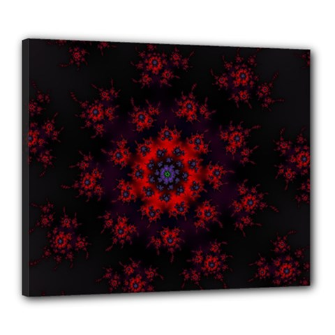 Fractal Abstract Blossom Bloom Red Canvas 24  X 20