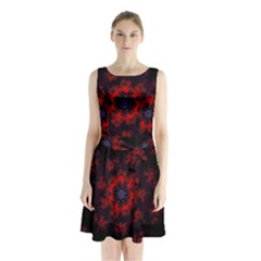 Fractal Abstract Blossom Bloom Red Sleeveless Chiffon Waist Tie Dress by Amaryn4rt