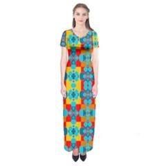 Pop Art Abstract Design Pattern Short Sleeve Maxi Dress by Amaryn4rt