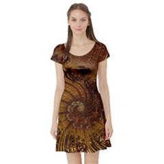 Copper Caramel Swirls Abstract Art Short Sleeve Skater Dress