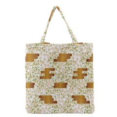 Flower Floral Leaf Rose Pink White Green Gold Grocery Tote Bag by Alisyart