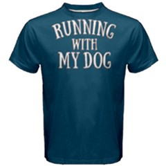 Running With My Dog   Men s Cotton Tee by FunnySaying