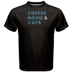 Black Coffee Movie And Cats  Men s Cotton Tee by FunnySaying