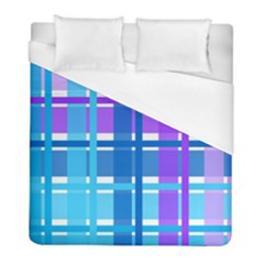 Gingham Pattern Blue Purple Shades Duvet Cover (full/ Double Size)