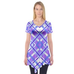 Geometric Plaid Pale Purple Blue Short Sleeve Tunic  by Amaryn4rt