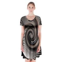 Abstract Background Curves Short Sleeve V Neck Flare Dress by Amaryn4rt