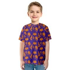 Witch Hat Pumpkin Candy Helloween Purple Orange Kids  Sport Mesh Tee by Alisyart