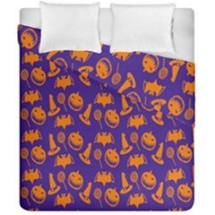 Witch Hat Pumpkin Candy Helloween Purple Orange Duvet Cover Double Side (california King Size) by Alisyart