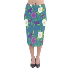 Caterpillar Flower Floral Leaf Rose White Purple Green Yellow Animals Velvet Midi Pencil Skirt by Alisyart