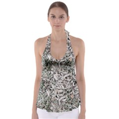 Ice Leaves Frozen Nature Babydoll Tankini Top