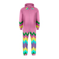 Easter Chevron Pattern Stripes Hooded Jumpsuit (Kids) by Amaryn4rt