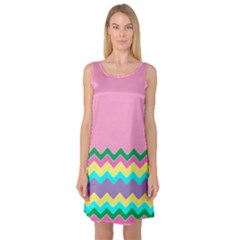 Easter Chevron Pattern Stripes Sleeveless Satin Nightdress by Amaryn4rt