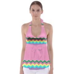 Easter Chevron Pattern Stripes Babydoll Tankini Top by Amaryn4rt