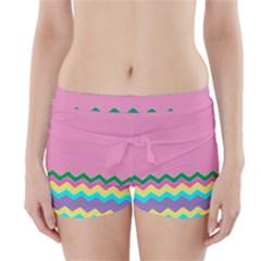 Easter Chevron Pattern Stripes Boyleg Bikini Wrap Bottoms by Amaryn4rt