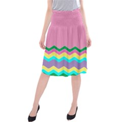Easter Chevron Pattern Stripes Midi Beach Skirt by Amaryn4rt