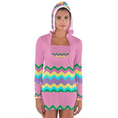 Easter Chevron Pattern Stripes Women s Long Sleeve Hooded T-shirt by Amaryn4rt