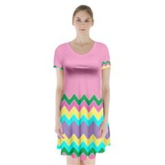 Easter Chevron Pattern Stripes Short Sleeve V Neck Flare Dress by Amaryn4rt