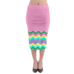 Easter Chevron Pattern Stripes Midi Pencil Skirt by Amaryn4rt