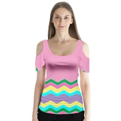 Easter Chevron Pattern Stripes Butterfly Sleeve Cutout Tee  by Amaryn4rt